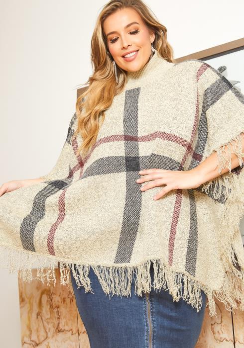 Asoph Plus Size Plaid Turtleneck Poncho Sweater