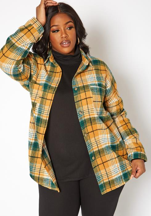 Asoph Plus Size Yellow Plaid Flannel Jacket