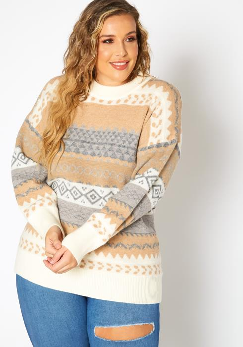 Asoph Plus Size Aztec Print Knit Sweater