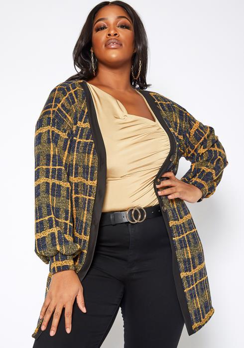 Asoph Plus Size Mustard Plaid Button Hem Longline Cardigan