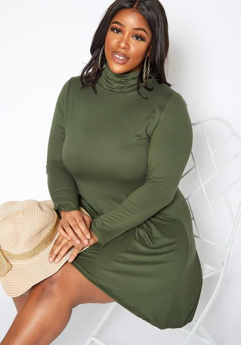 Asoph Plus Size Turtle Neck Long Sleeve Fit & Flare Mini Dress