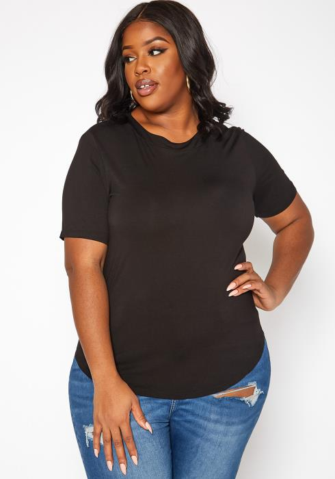 Asoph Plus Size Windowpane Cut Out Design Shirt