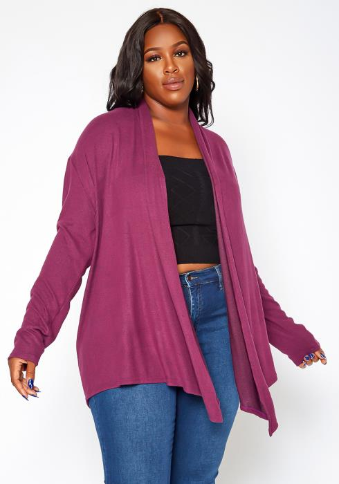 Asoph Plus Size Soft Knit Open Front Waterfall Drape Cardigan