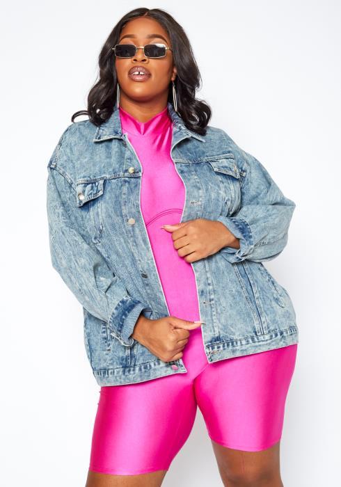 Asoph Plus Size Light Wash Denim Oversized Jacket