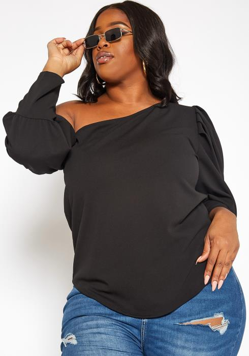 Asoph Plus Size Cold Shoulder Puffy Long Sleeve Blouse