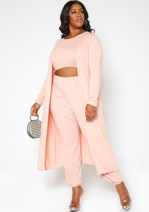 Asoph Plus Size In My Zone Three Piece Solid Set