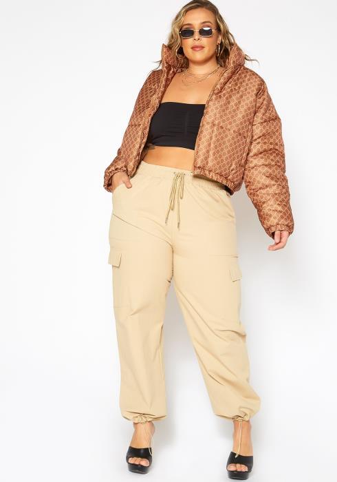 Asoph Plus Size Stepping Out Khaki Cargo Pants