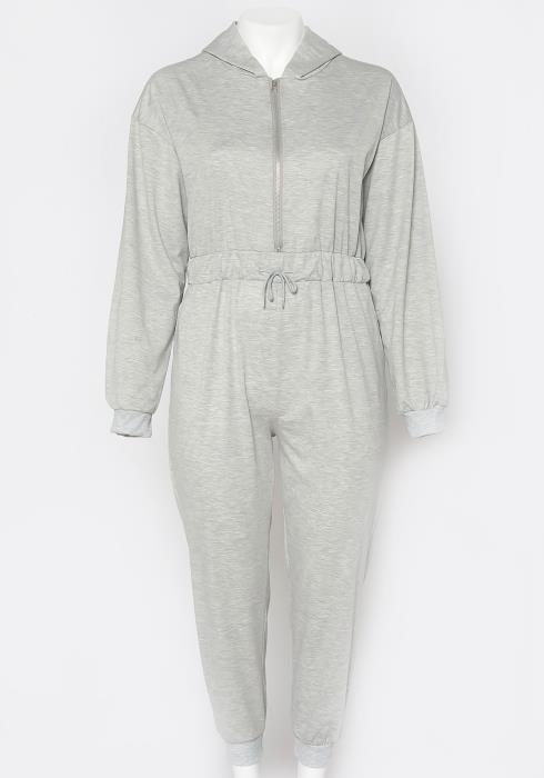 Asoph Plus Size Casual Hooded Jumpsuit