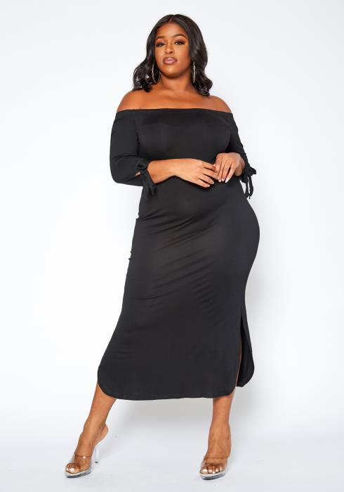 Asoph Plus Size Off Shoulder Bodycon Maxi Dress