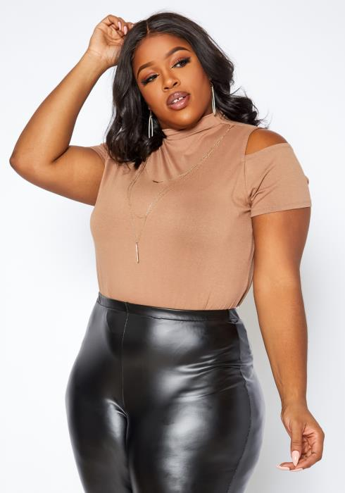Asoph Plus Size Mock Neck Cold Shoulder Top With Necklace