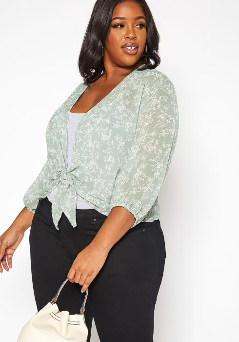 Asoph Plus Size Floral Print Self Tie Blouse
