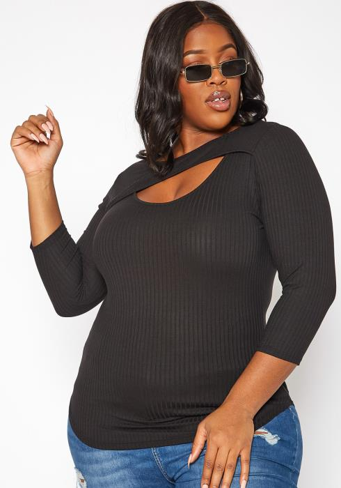 Asoph Plus Size Split Hem Ribbed Long Sleeve Top