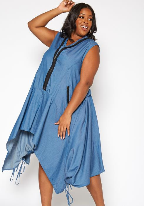 Asoph Plus Size Zipper Ascent Asymmetric Fit & Flare Denim Dress