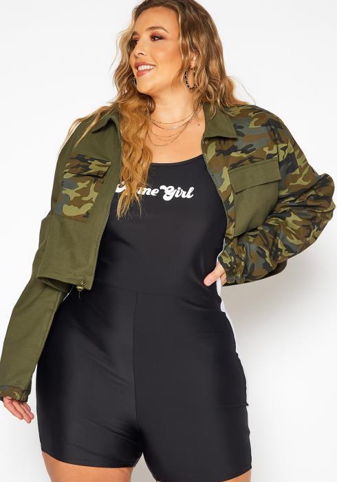 Asoph Plus Size Camo Splice Utility Cropped Jacket