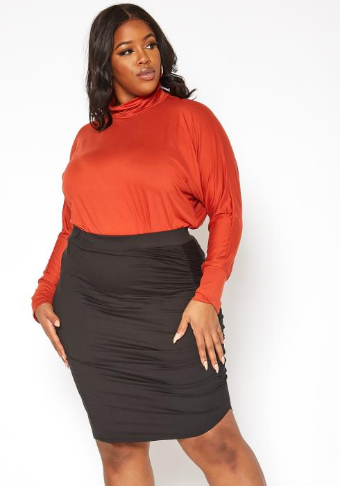 Asoph Plus Size Ruched Effect High Rise Bodycon Mini Skirt
