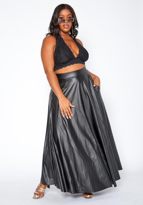Asoph Plus Size PU Leather Wide Flare Maxi Skirt