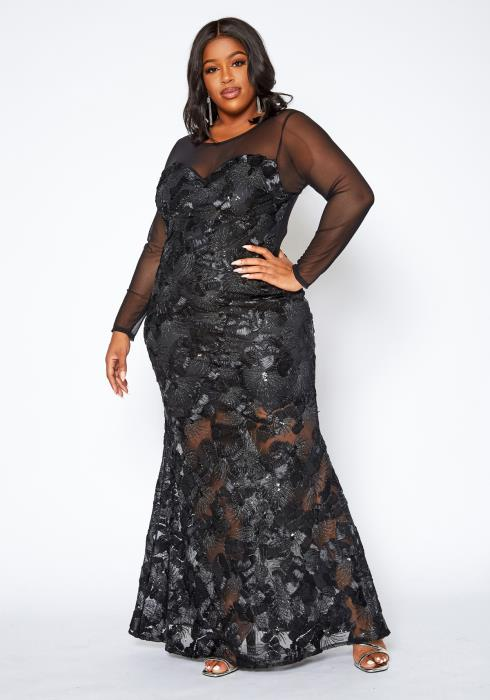 Asoph Plus Size Elegant Patterned Lace Mermaid Hem Gown