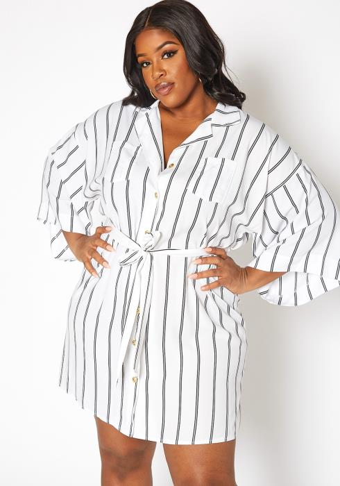 Asoph Plus Size Pin Striped Button Front Mini Dress