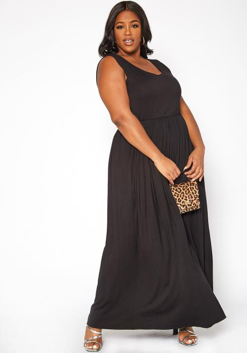 Asoph Plus Size Casual Fit & Flare Maxi Dress