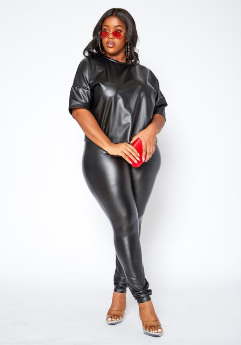 Asoph Plus Size PU Leather Shirt & Leggings Set