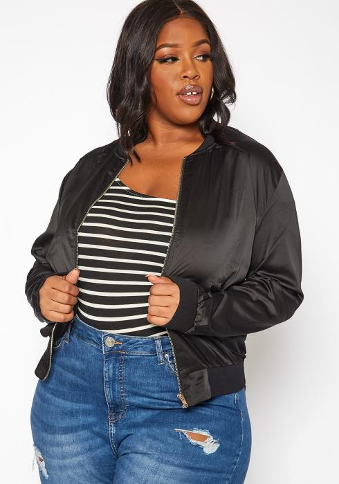 Asoph Plus Size Lightweight Satin Bomber Jacket