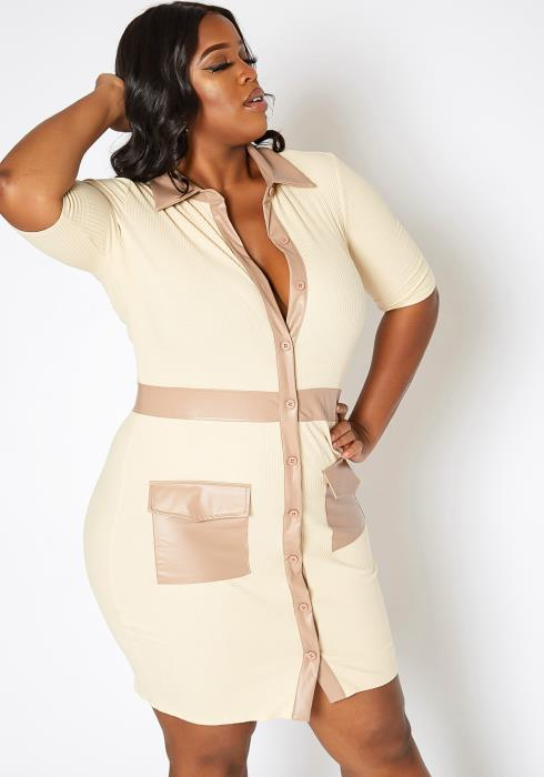 Asoph Plus Size Ribbed Knit Faux Leather Contrast Mini Dress