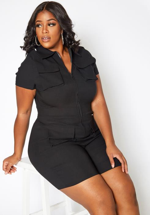 Asoph Plus Size Safari Bae Cargo Bodycon Romper