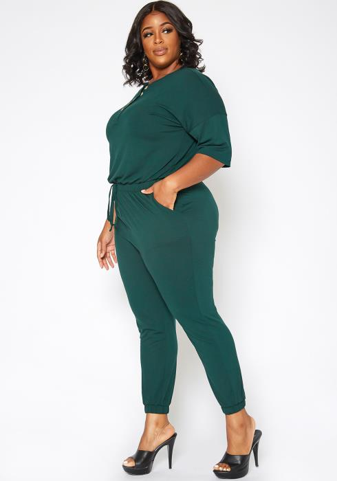 Asoph Plus Size Casual Button Hem Jumpsuit
