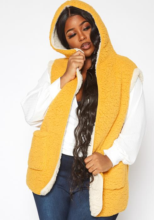 Asoph Plus Size Cozy Knit Hooded Vest