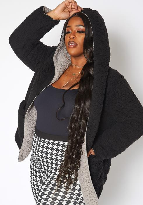 Asoph Plus Size Cozy Knit Hooded Cardigan
