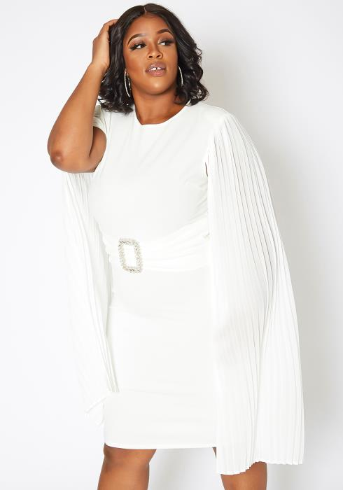 Asoph Plus Size Pleated Angel Sleeve Bodycon Mini Dress