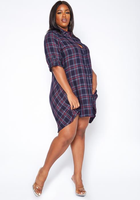 Asoph Plus Size Plaid Print Collar Shirt Dress