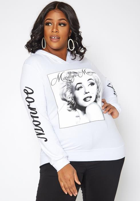 Asoph Plus Size Marilyn Monroe Graphic Hooded Sweatshirt