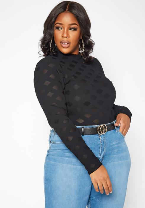 Asoph Plus Size Textured Mesh Contrast Long Sleeve Bodysuit