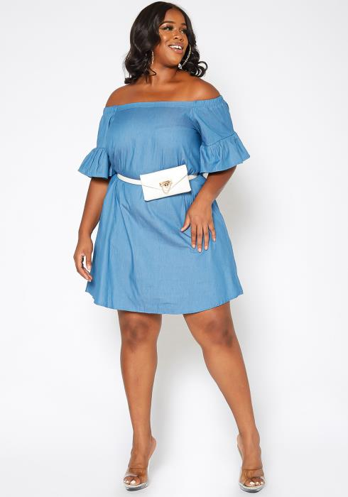 Asoph Plus Size Off Shoulder Faux Denim Fit & Flare Mini Dress