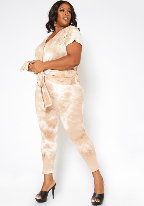 Asoph Plus Size Oatmeal Tie Dye Lounge Set