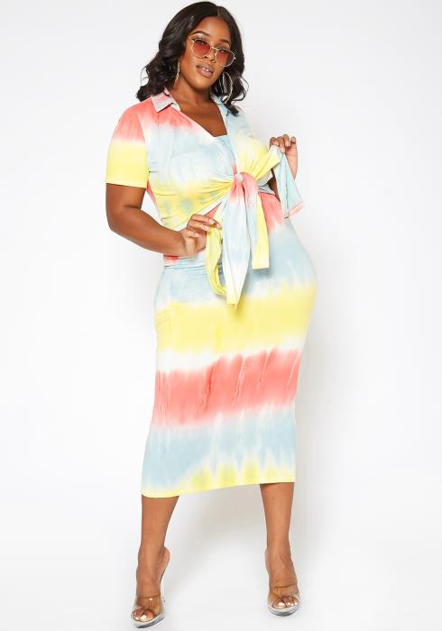 Asoph Plus Size Gradient Tie Dye Bodycon Tube Dress & Wrap Shirt Set