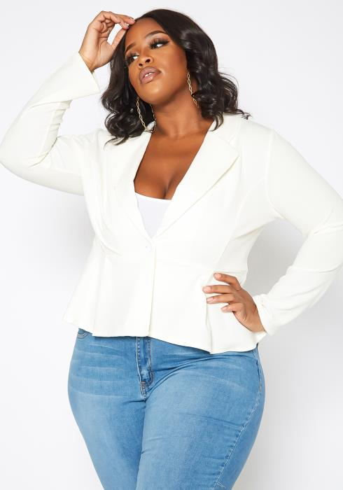 Asoph Plus Size Business Casual Button Front Blazer