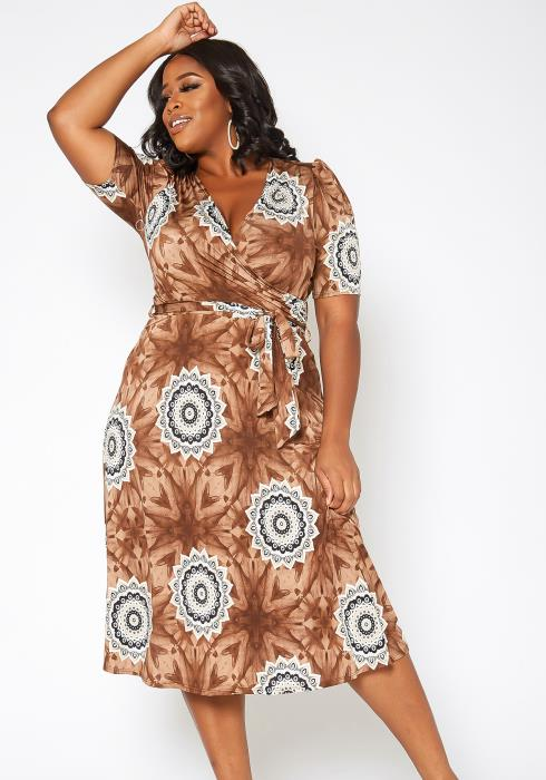 Asoph Plus Size Lovely Boho Fit & Flare Midi Dress