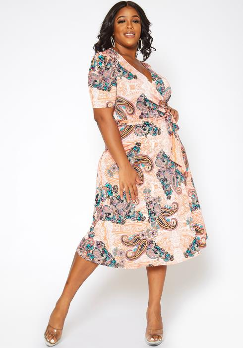 Asoph Plus Size Paisley Print Fit & Flare Midi Dress