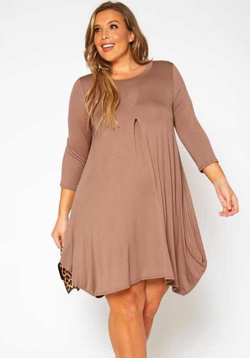 Asoph Plus Size Casual Long Sleeve Fit & Flare Mini Dress