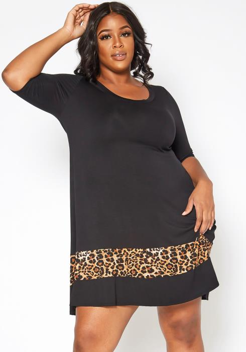 Asoph Plus Size Leopard Trim Fit & Flare Mini Dress