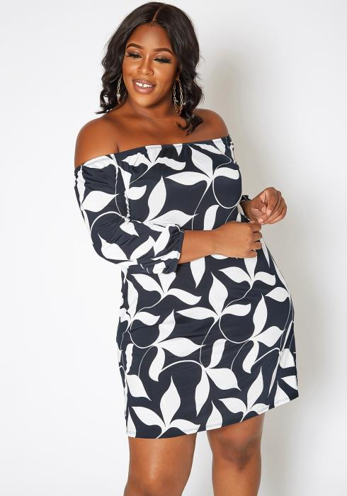 Asoph Plus Size Leafy Print Off Shoulder Flare Mini Dress