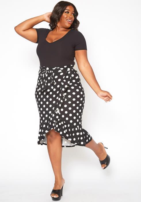 Asoph Plus Size Polka Dot Print Ruffle Flare Midi Skirt