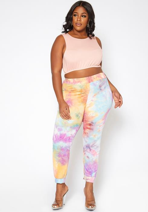 Asoph Plus Size Sweet Tie Dye Lounge Pants