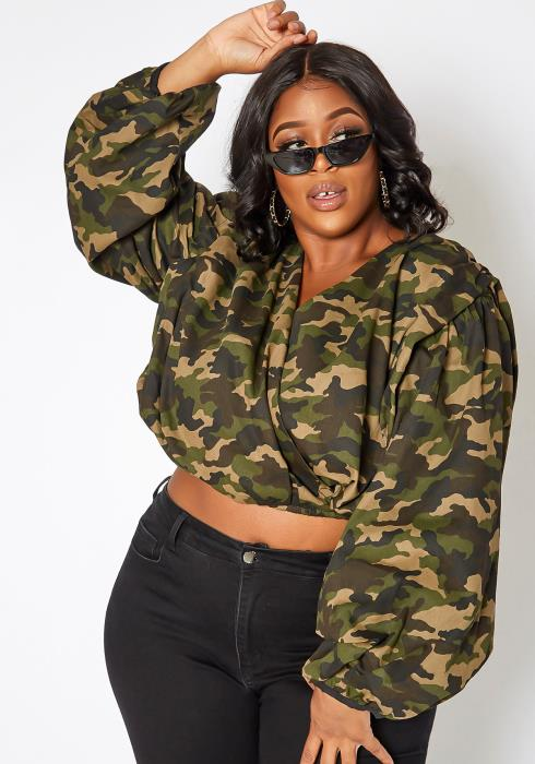 Asoph Plus Size Camouflage Puffy Sleeve Crop Top