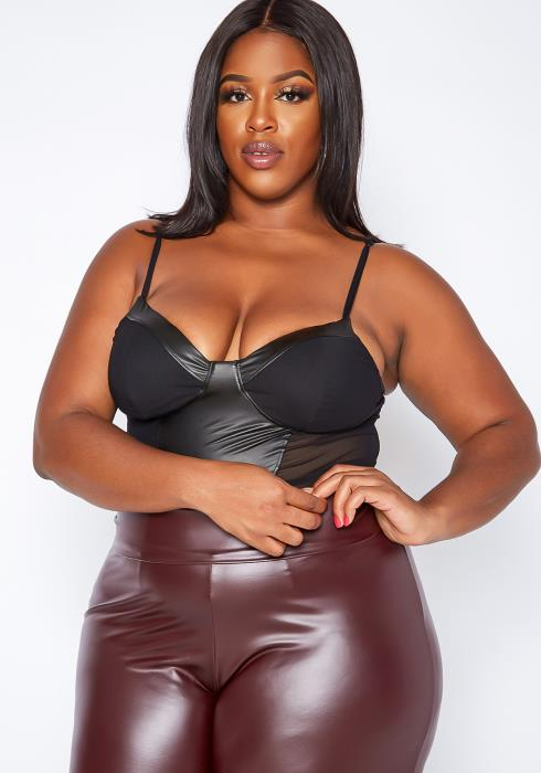 Asoph Plus Size Faux Leather Mesh Contrast Cami Bodysuit