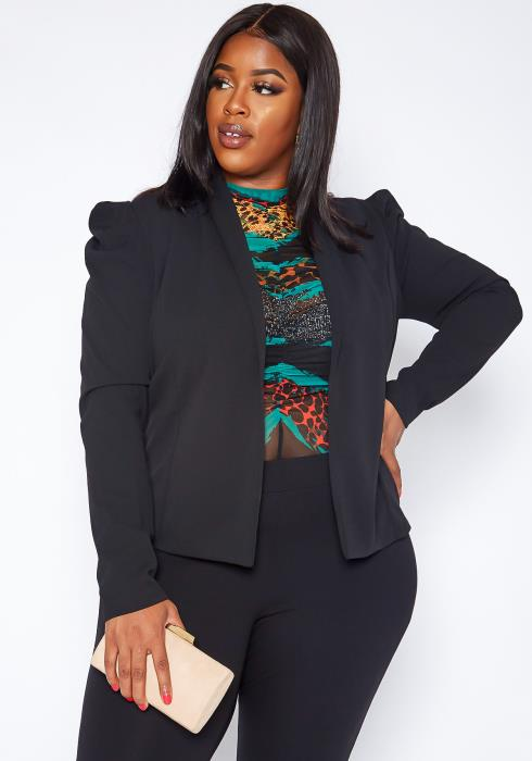 Asoph Plus Size Business First Puff Shoulder Open Front Blazer