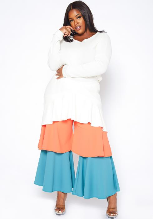 Asoph Plus Size Color Splice Ruffle Overlay Flare Pants