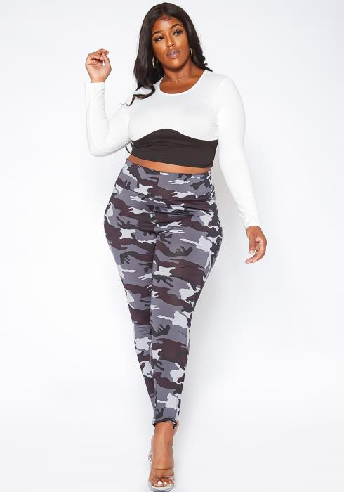 Asoph Plus Size Military Camo Print High Waist Active Leggings